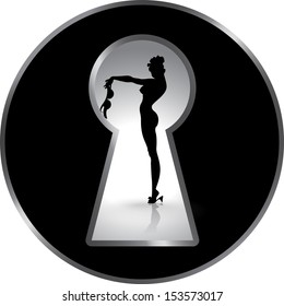 Silhouette of a woman figure seen through a key hole. Erotica. Striptease. Temptation