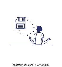 silhouette of woman with floppy disk in white background vector illustration design