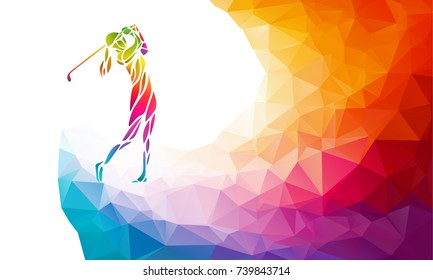 Silhouette of woman golf player. Vector eps10