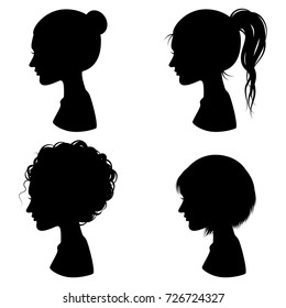 Silhouette Woman Hairstyle Fashion Vector Set