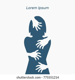 Silhouette of woman, harassment, hands, vector illustration, flat concept, text, blue, white, victim, sexual, rape