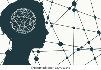 Silhouette of a woman head. Mental health relative brochure, report design template. Scientific medical designs. Molecule and communication background. Connected lines with dots.