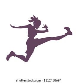 Silhouette of a woman in a jump, triathlon