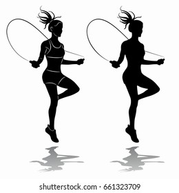 silhouette of a woman jumping over a rope, black and white drawing, white background