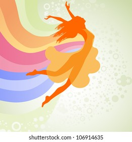 Silhouette  woman jumping with the rainbow