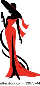 Silhouette of woman in long dress and big hat with wineglass. Stylish fashion illustration. Elegant design