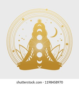 Silhouette of woman in lotus pose. Vector illustration