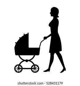 silhouette woman mother with pram baby walking