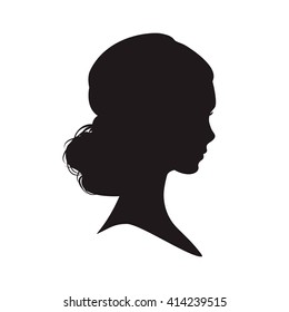 Silhouette of a  woman on white background. Vector illustration