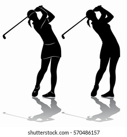 silhouette of a woman playing golf, black and white drawing, white background
