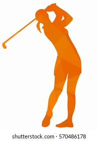 silhouette of a woman playing golf, creative drawing, white background