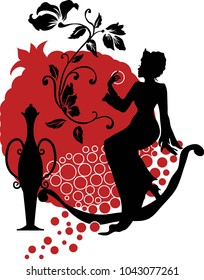 Silhouette of woman with a pomegranate. Elegant style fashion illustration