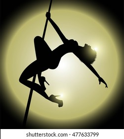 silhouette of woman practicing pole dance