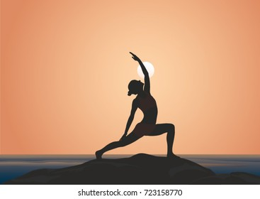 A silhouette of a woman practicing yoga at sunset. Reverse warrior pose. Peaceful warrior.