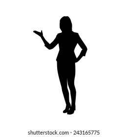 Silhouette of woman presenting something