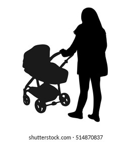 silhouette of a woman pushing a stroller - silhouette