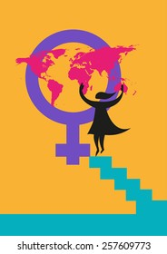 A silhouette of a woman putting a map on the Venus gender symbol. Image concept for International Women's Day image or rights about women.  Editable Vector and Jpg raster.