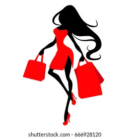 Silhouette woman with shopping bag, vector banner template for female shopping, sales, black friday design. Beautiful girl in red dress in high heels with purchases in hands on a white background