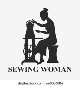 Silhouette of Woman sitting with sewing machine isolated on wite. Vector illustration