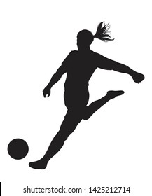 Silhouette of a woman soccer player kicking ball on white background, Vector