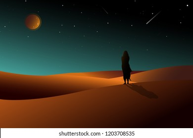 Silhouette Woman standing alone on desert watching to moonlight with sky full of stars, Illustration night desert