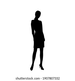 Silhouette of a woman standing,  business people,vector illustration, black color, isolated on white background