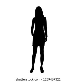 Silhouette of a woman standing in a business suit, vector illustration, black color, isolated on white background