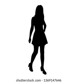 Silhouette of a woman in summer dress standing, business people,vector illustration, black color, isolated on white background