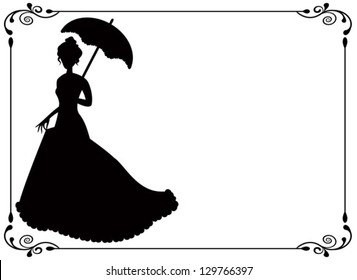 silhouette of a woman with umbrella and long dress  umbrella and vintage frame with swirls