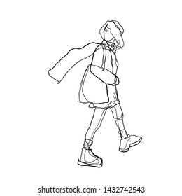 Silhouette woman walking girl with a flying scarf. Stylized  contemporary portrait model. One line hand drawing. Girl in trendy clothes dressed in coat, sneakers and shopper