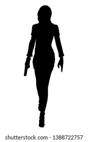 Silhouette woman walking with gun in vector illustration