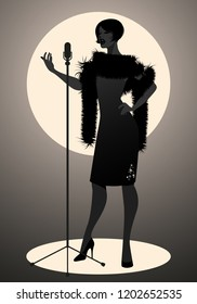 Silhouette of woman wearing retro style singing in front of a vintage microphone