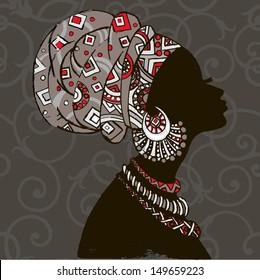 silhouette of woman.Beautiful black woman.