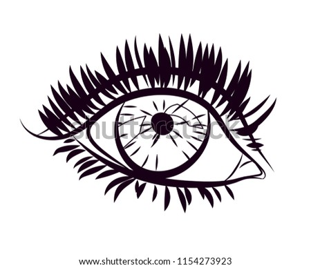Silhouette Womans Eye Isolated Vector Illustration Stock Vector