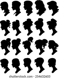 Silhouette Women Profiles - Illustration - Vector Image