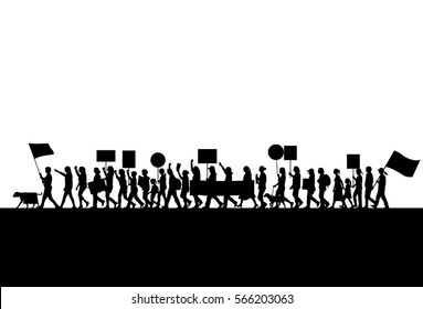 Silhouette of women protesting, vector