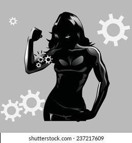 Silhouette of women showing flexing biceps./Strong Women/Flexing