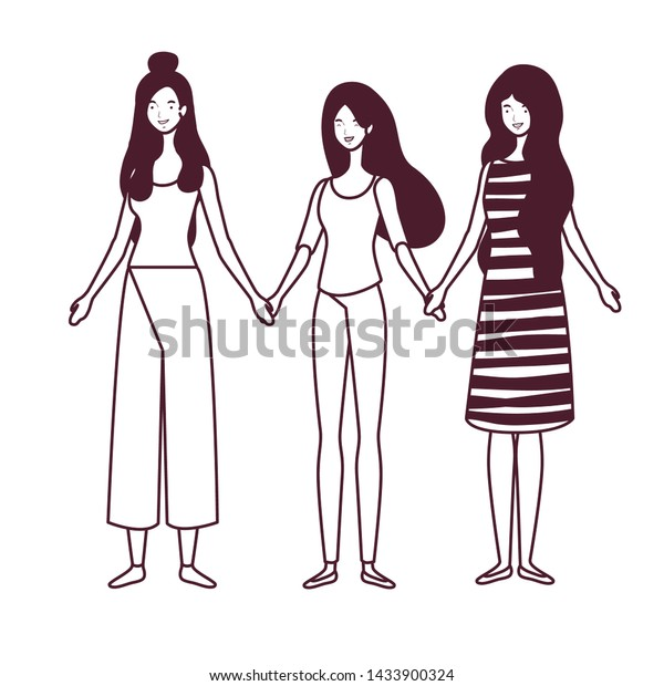 silhouette of women standing on white background
