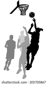 Silhouette of a women's basketball layup with gray scale defensive players