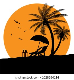 Silhouette of wooden chaise lounge, palm tree on beach. Umbrella and table with coconut and cocktail. Day in tropical place. Vector illustration
