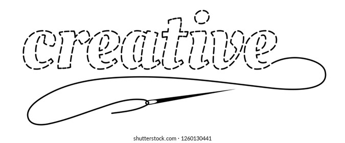 Silhouette of the word Creative with interrupted contour. Hand made vector illustration with embroidery thread and needle on white background.
