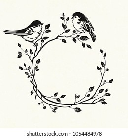 Silhouette of wreath with birds sitting on branches. Vector floral illustration on texture background in vintage style.