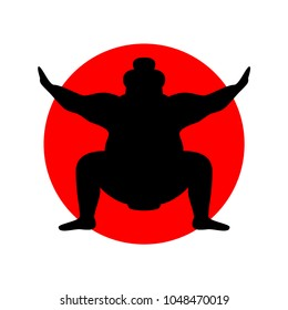 Silhouette of wrestler sumo against the background of the Japanese flag