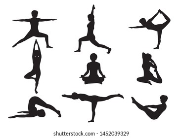 Silhouette Yoga Pose by Woman Instructor