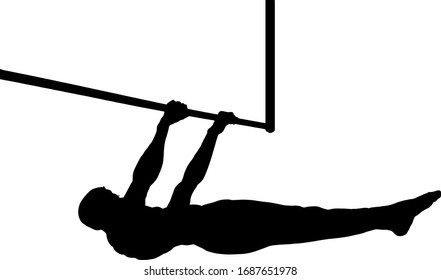 Silhouette of a young boy doing a front lever pull-up exercise on a horizontal bar. Vector illustration.