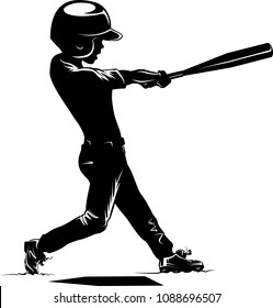 Silhouette of a young boy hitting a home run.