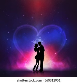 Silhouette of young couple in love on creative colorful night background for Happy Valentine's Day celebration.