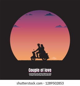 Silhouette young couple on motorcycle, Valentines day concept, Vector illustration flat, nature landscape sunset background