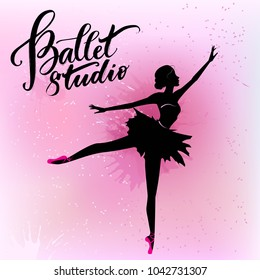Silhouette of young dancer and modern lettering Ballet studio.Can be used for logo, signage, posters and advertising your business, Vector illustration, sketch.