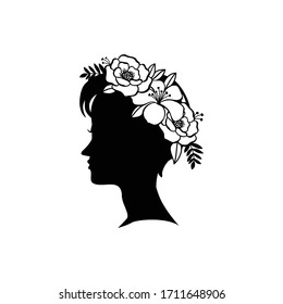 Silhouette young female hairstyle with flowers